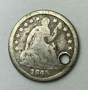 DATED : 1845   SILVER COIN   HALF DIME   SEATED LIBERTY   AMERICA   USA