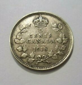 1918 CANADA 5 CENTS COIN KING GEORGE VTG