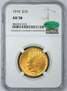 NGC AU58 CAC 1910 $10 GOLD INDIAN WITH A CLEAN LOOK