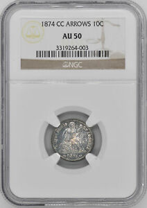 Click now to see the BUY IT NOW Price! 1874 CC LIBERTY SEATED 10C NGC AU 50