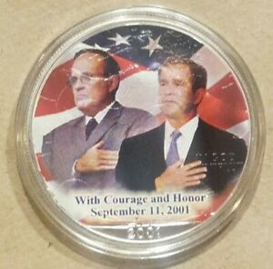 Click now to see the BUY IT NOW Price! 2001 AMERICAN SILVER EAGLE 9/11 GEORGE W BUSH RUDY GIULIANI COLORIZED $1 COIN