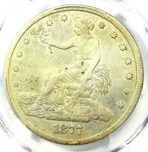 1877 CC TRADE SILVER DOLLAR T$1   PCGS XF DETAILS  EF     CARSON CITY COIN