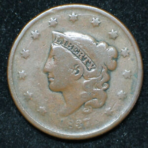 1837 CORONET HEAD LARGE CENT      N 5 | R2 | VG     SMALL LETTERS   LC102