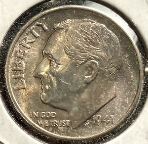 1947 S ROOSEVELT DIME LUSTROUS WITH COLORFUL TONING