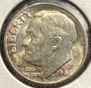 1948 ROOSEVELT DIME LUSTROUS WITH COLORFUL TONING