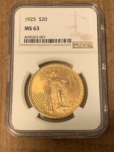 1925 $20 SAINT GAUDENS GOLD DOUBLE EAGLE COIN NGC MS63 PRE 1933  SLABBED