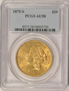 1875 S $20 LIBERTY GOLD DOUBLE EAGLE COIN PCGS AU 58 IN AN OLDER HOLDER