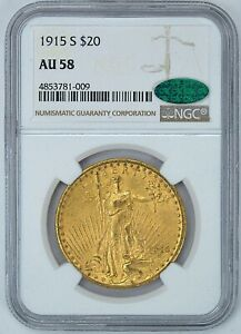 NGC CAC 1915 S AU58 $20 GOLD LIBERTY