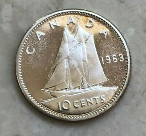 Click now to see the BUY IT NOW Price! 1963 CANADA 10 CENTS   NICE PROOFLIKE SILVER