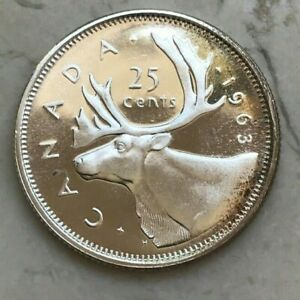 Click now to see the BUY IT NOW Price! 1963 CANADA 25 CENTS   NICE PROOFLIKE SILVER