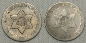 1851 & 1852 3 CENT SILVER OLD US COINS LOT GREAT DEAL