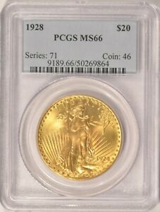 1928 $20 SAINT GAUDENS GOLD DOUBLE EAGLE PCGS MS66 BEAUTIFUL COIN OLDER HOLDER