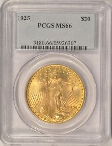 1925 $20 SAINT GAUDENS GOLD DOUBLE EAGLE COIN PCGS MS66 IN AN OLDER HOLDER
