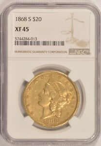 1868 S $20 GOLD DOUBLE EAGLE COIN NGC XF45 SAN FRANCISCO MINT