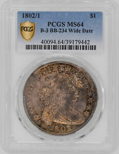 1802/1 DRAPED BUST $1 PCGS MS 64