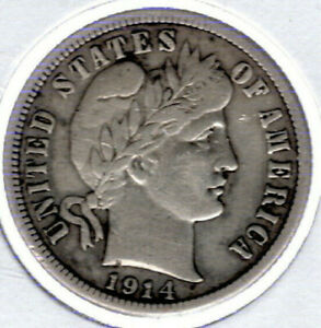 1914P BARBER DIME 90  SILVER NICE