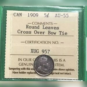 Click now to see the BUY IT NOW Price! 1909 5 CENTS  CANADA ROUND LEAVES CROSS OVER BOW TIE ICCS AU 55