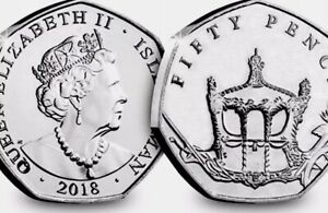 ISLE OF MAN COIN 50P PENCE 2018 HRH ELIZABETH II SAPHIRE CELEB. ROYAL GOLD COACH