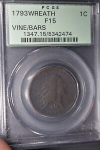 Click now to see the BUY IT NOW Price! 1793 1C WREATH VINE AND BARS PCGS F15 OGH