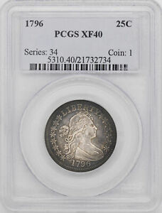 Click now to see the BUY IT NOW Price! 1796 DRAPED BUST 25C PCGS XF 40