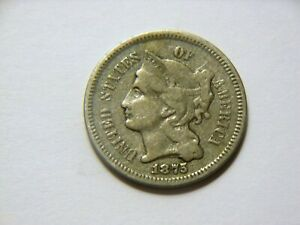 1875 F /F 3 CENT NICKEL  NICE  LOW MINTAGE  ONLY  288 K  COIN FOR A COLLECTION