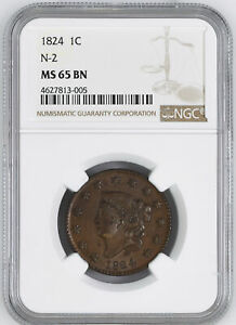 Click now to see the BUY IT NOW Price! 1824 CORONET HEAD 1C NGC MS 65 BN