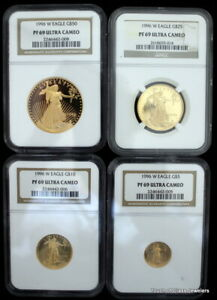 Click now to see the BUY IT NOW Price! 1996 W PROOF GOLD AMERICAN EAGLE 4 COIN SET GRADED PF 69 ULTRA CAMEO BY NGC