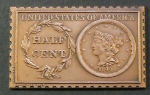 1840 UNITED STATES BRAIDED HAIR HALF 1/2 CENT NUMISTAMP MEDAL 1977 MORT REED