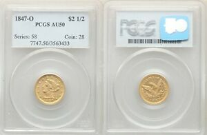1847 O LIBERTY GOLD $2.5 QUARTER EAGLE PCGS AU50 MINT ERROR ROTATED DIES