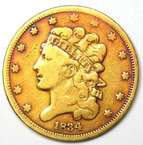 1834 CLASSIC GOLD HALF EAGLE $5 COIN   VF DETAILS    TYPE COIN