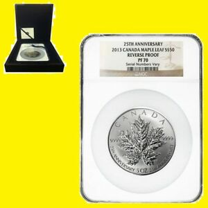 Click now to see the BUY IT NOW Price! 2013 5 OZ SILVER CANADIAN MAPLE NGC RV PF 70 UC 25TH ANN MINT BOX COA