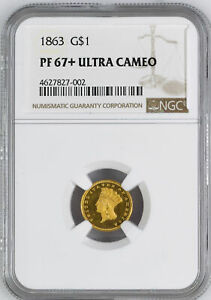 Click now to see the BUY IT NOW Price! 1863 GOLD G$1 NGC PR 67  DCAM