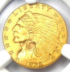 1925 D INDIAN GOLD QUARTER EAGLE $2.50 COIN   NGC UNCIRCULATED DETAILS  UNC MS