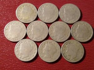 LOT OF 10 DIFFERENT LIBERTY HEAD NICKELS: 1902 1908 1910 1912 STARTER SET