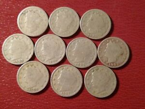 LOT OF 10 DIFFERENT LIBERTY HEAD NICKELS: 1897 1899 1901 1907 1911 STARTER SET