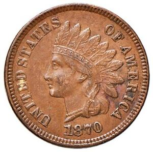 USA INDIAN CENT 1870 KEY DATE CLOSE TO UNCIRCULATED FROM PUBLIC SALE