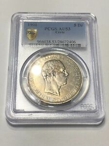 Click now to see the BUY IT NOW Price! GREECE 5 DRACHMAI 1901 CRETE PCGS AU53