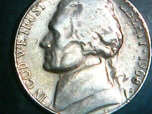 1968 S MINT JEFFERSON NICKEL WITH AN ERROR ON THE RIGHT TOP SIDE OF MONTICELLO