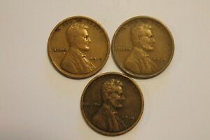 LOT X 3   1919 P D S LINCOLN PENNY   WHEAT CENT   $.01 1C COIN SET