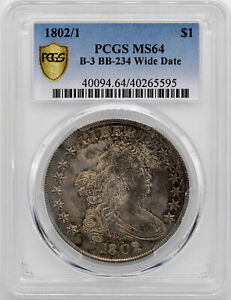 Click now to see the BUY IT NOW Price! 1802/1 DRAPED BUST $1 PCGS MS 64