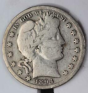 1894 O BARBER SILVER HALF DOLLAR   GREAT DETAILS  DOUBLEJCOINS    110602
