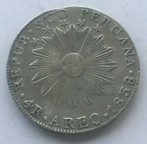 Click now to see the BUY IT NOW Price! 1838 AREQ SOUTH PERU 4 REALES    SILVER