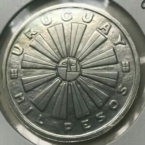 Click now to see the BUY IT NOW Price! 1969 URUGUAY 1000 PESOS   BIG SILVER