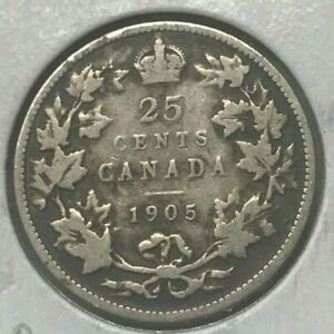 1905 CANADA 25 CENTS   BETTER DATE   ONLY 800 000 MINTED