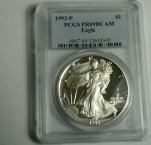 1993 P AMERICAN SILVER EAGLE PROOF DCAM PCGS PR69 SEE IT TO BELIEVE IT     A125