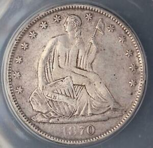 1870 S SEATED LIBERTY HALF DOLLAR   ANACS F12 DETAILS    DOUBLEJCOINS    5008 07
