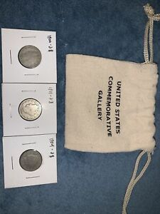 LOT OF 3 BARBER NICKELS   COMMEMORATIVE GALLERY BAG