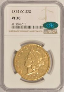 1874 CC $20 LIBERTY GOLD DOUBLE EAGLE COIN NGC VF30 CAC STICKER CARSON CITY MINT