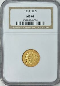 1914 INDIAN HEAD QUARTER EAGLE $2.5 GOLD NGC MS61