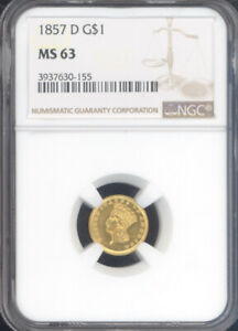 Click now to see the BUY IT NOW Price! 1857 D GOLD DOLLAR NGC MS63